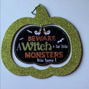 Witch & Monsters Halloween sign